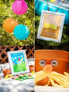 cute craft for kids - plant the seed and take home pot with Lorax mustache and eyes!!!