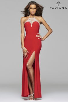 Jersey halter prom dress with rhinestone detail. #Faviana Style 7727