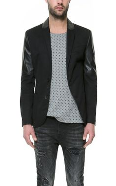 Zara Mens Blazer With Faux Leather Sleeves