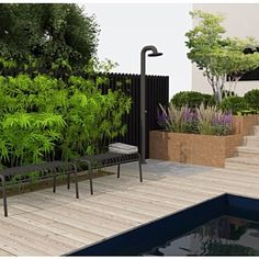 """Bengtsson Design on Instagram: """"Design proposal for the outdoor shower. An important detail to consider in any pool area. We are totally in love with the smart design of…"""" Instagram Design, Smart Design, Proposal, Shower, Detail, Plants, Outdoor, Rain Shower Heads, Outdoors"""