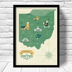 Ohio Map Personalized Family name Customized by ConsiderGraphics