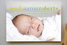Birth Announcement. Like the layout, the sweet colors, simple, full bleed landscape photo.