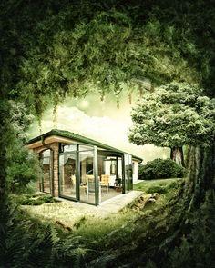Posuvné zastřešení terasy CORSO pozorované z hustého lesa.