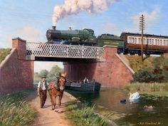 View paintings and fine art prints by renowned British landscape and railway artist - Rob Rowland GRA. Train Pictures, Art Pictures, Steam Art, Railway Posters, Train Posters, Old Train Station, Nostalgic Art, Henri Rousseau, Steam Railway