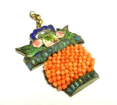 Vintage Chinese Export Coral Enamel Pendant for Necklace