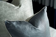 Mixed fabric cushions in blue, pattern & tactile combination. Neutral Color Scheme, Color Schemes, Study In London, Stones Throw, Cushion Fabric, Pent House, Dark Wood, Shades Of Blue, Natural Light