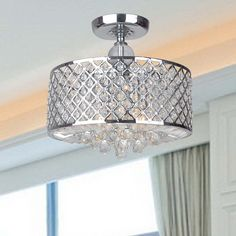 Shop for Evelyn Chrome Finish and Crystal Flush-mount Chandelier - Clear. Get free delivery On EVERYTHING* Overstock - Your Online Ceiling Lighting Store! Get in rewards with Club O! Flush Mount Chandelier, Ceiling Chandelier, Flush Mount Lighting, Ceiling Lights, Bathroom Chandelier, Bedroom Chandeliers, Bedroom Lighting, Interior Lighting, Home Lighting