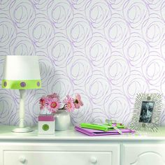 Modern rose pattern is perfect for a tween room http://lelandswallpaper.com.  Width: 20.5 in  Repeat: 20.5 in  Length: 15 ft (SINGLE ROLL)  pre-pasted, washable, strippable  white background with large purple scribbles create a modern, almost floral pattern $27.95