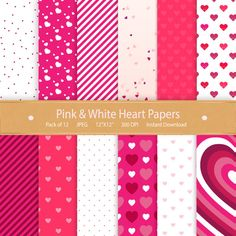 Digital Paper Pink & White Hearts Valentines Day by GoneDigital