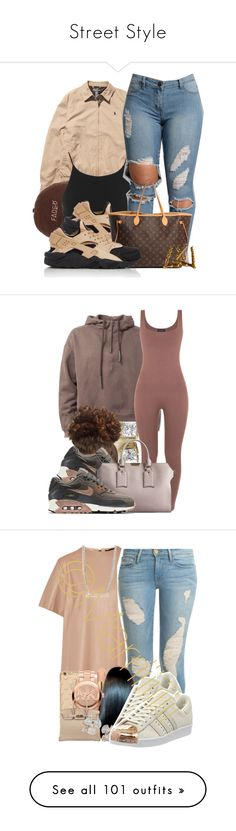 """""""Street Style"""" by deany ❤ liked on Polyvore featuring Ralph Lauren, Miss Selfridge, NIKE, Louis Vuitton, Burberry, Belstaff, Frame Denim, AERIN, Michael Kors and Hermès"""