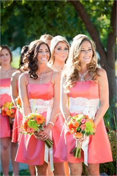 peach bridesmaid dresses- maybe not this material- maybe grey lace instead of white!?