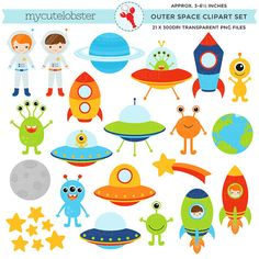 Outer Space Clipart Set clip art of aliens spaceships