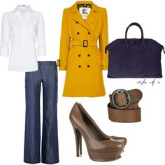 """""""Office yellow and blue"""" by styleofe on Polyvore I am not sure I love the yellow but I love the outfit as a whole"""