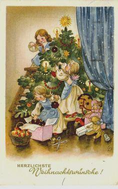 Weihnachten: Engel schmücken Christbaum,Spielzeug, Lia Döring sign. gel. reizend | eBay
