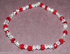 Beautiful Name Brand Crystal Amp Silver Bracelet Elastic Fit Red Amp Clear | eBay