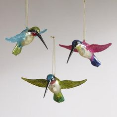 Handcrafted of glass with twinkling glitter and wing attachments, our lively Flying Hummingbird Ornaments perch perfectly on the holiday tree. Holiday Tree, Holiday Decor, Twinkle Twinkle, Hummingbird, Wings, Spa, Wellness, Christmas Ornaments, Xmas Trees