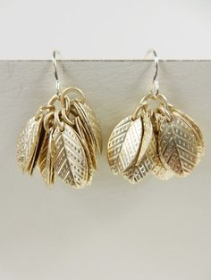 Gold Leaf Earrings, Vintage Earrings, Gold Leaves, Repurposed Jewellery, One of a Kind Earrings, Hollywood Glamour, 1940s Fashion