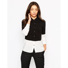 Object Long Sleeve Colourblock Shirt (€27) ❤ liked on Polyvore featuring tops, black w egret, woven shirt, color block shirt, button shirts, shirts & tops and long sleeve woven shirt