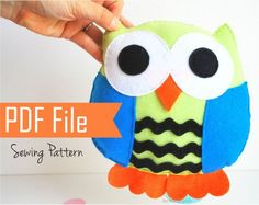 Owl Pillow PDF Sewing pattern and Instructions A674