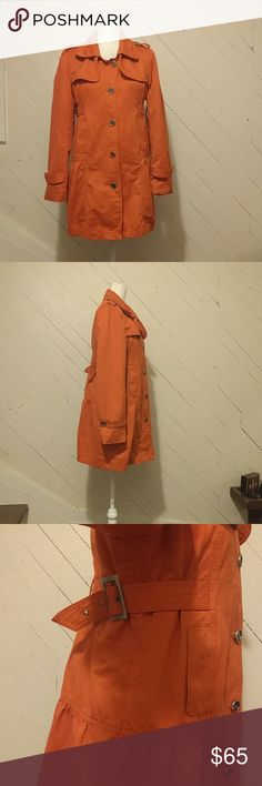 Millard Fillmore orange utility Jacket 31 inches long,  34 inch bust at the smallest, 38 at the biggest. The buckle tightens to adjust. This is so soft with plenty of pockets. Cute details in the back. Perfect fall coat Millard Fillmore Jackets & Coats Utility Jackets