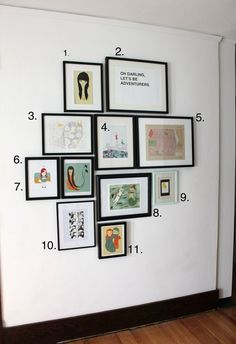 cool wall collage- hallway two rules of thumb for hanging art Photowall Ideas, Picture Arrangements, Photo Arrangement, Deco Retro, Diy Décoration, Inspiration Wall, Home And Deco, Wall Collage, Wall Art
