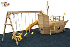 playhouse swing set plans | 903 Fair Weather Small Pirate Ship Playhouse Playsets