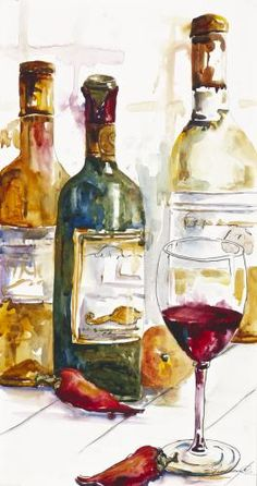 by Vickie Nelson Watercolor Pictures, Watercolor Tips, Watercolor Cards, Watercolor Print, Watercolor Paintings, Watercolours, Wine Painting, Wine Art, Beautiful Paintings