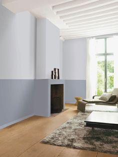 Salon design deux tons de peinture grise et parquet chêne clair