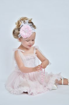 Pink and white lace and chiffon tutu dress for first birthday or ballet party
