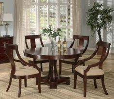 5pc Casual Dining Table & Chairs Set Deep Cherry Finish - Click pics for price <3