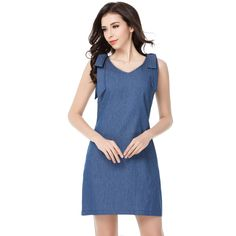 Denim V-Neck Shoulder Strap Dress //Price: $18.98 & FREE Shipping //     #fashion #dealyshopping #instagood #picoftheday #moda #gooddeals #deals #bestdeals #shoppingonline #blackfriday