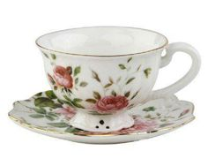 Our beautiful Pierced Rose Teacups and saucers have a delicate scallop shape made of fine china and trimmed in lovely 24K gold hand wash only.