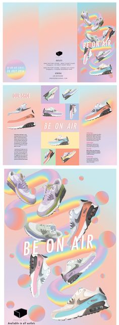 [ NIKE- BE ON AIR ]  Remake of sneaker box logo and new idea of Nike air max ( brochure & poster )  Tags : Nike , Logo , Graphic Design , Pastel , sneakers , paddle pop , brochure , poster