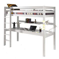 Lit mezzanine 90x200 avec bureau pin Armance & Faustin blanc