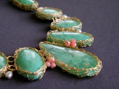 Chrysoprase Coral and Pearl Statement Necklace Crochet by Galit, $245.00