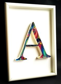 Monogram A, Framed Quilled Monogram Art, Alphabet A, Quilled Paper Art.