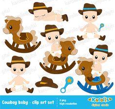 Cowboy baby boy  digital clip art set  horse by karolisdigital