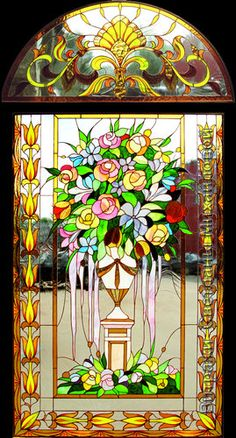 "Витраж ""Ваза"" Disney Stained Glass, Modern Stained Glass, Stained Glass Light, Stained Glass Paint, Stained Glass Flowers, Stained Glass Designs, Stained Glass Panels, Stained Glass Projects, Leaded Glass"