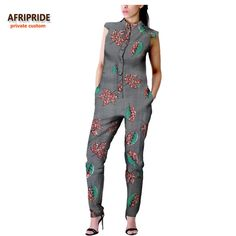 2017 african autumn women casual jumpsuit AFRIPRIDE private custom sleeveless ankle-length jumpsuit for women pure cottonA722907