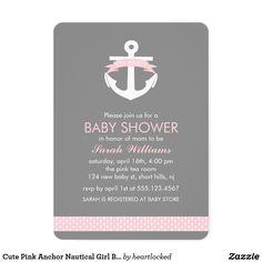 Cute Pink Anchor Nautical Girl Baby Shower