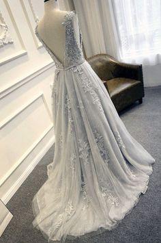 Etsy の Gray Blue Lace Wedding Dress by WeekendWeddingDress