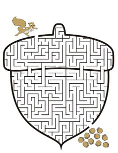 Print Acorn Printable Maze coloring page & book. Your own Acorn Printable Maze printable coloring page. With over 4000 coloring pages including Acorn Printable Maze . Mazes For Kids Printable, Worksheets For Kids, Printable Coloring Pages, Free Printable, Animal Worksheets, Thanksgiving Activities, Autumn Activities, Activities For Kids, Fall Coloring Pages