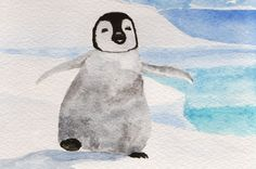 Original watercolor baby penguin Christmas Card by MilkFoam, $10.00