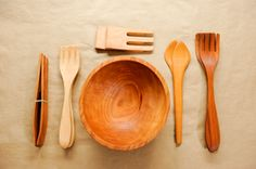 Wooden Bowl and Wooden Spoons