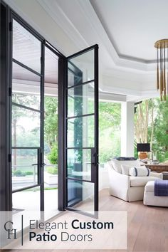 Maximize your home's design with custom made wrought iron patio doors. Whether your ideas include modern or traditional; French or slim profile; hinged, sliding, or multi slide, a custom sized patio entrance will add style and function to your home, providing a seamless transition between interior and exterior. Modern Patio Doors, French Doors Patio, Sliding Patio Doors, Modern Windows, Sliding Glass Doors, Modern Window Design, Contemporary Windows, Sliding French Doors, Modern Sliding Doors