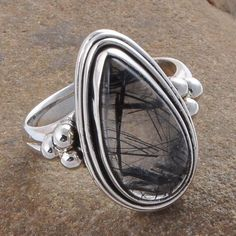 925 STERLING SILVER  BLACK RUTILE ANTIQUE LADIS RING 5.95g R01270 #Handmade #RING