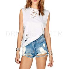 #Summer Sky #Distressed #Denim Cutoff #Shorts #Vintage #Jeans #Shredded