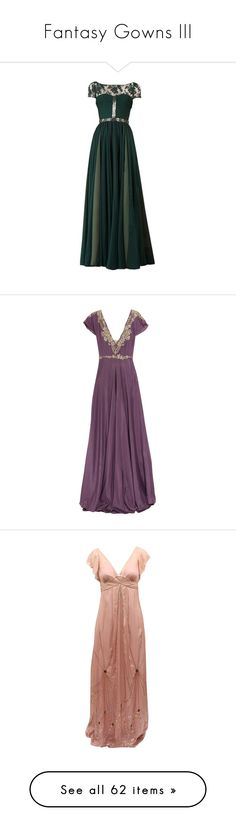 """""""Fantasy Gowns III"""" by savagedamsel ❤ liked on Polyvore featuring dresses, gowns, long dresses, vestidos, green ball gown, green evening dresses, green evening gown, green gown, purple and violet"""