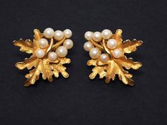 New Listings Daily - Follow Us for UpDates -  Description & Style:  Oak Leaves & Pearl Beads Earrings - Clip ons with Leaf and Faux Pearl Bead Design - Designer signed Trifari - #Vintage 1960's offered by TheJewelSeeker... #vintage #jewelry #teamlove #etsyretwt #ecochic #thejewelseeker