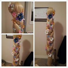 "rebelsong: ""aelynn: "" 1. Cutting out foam strips 2. Sewing foam strips into tubes 3. ( Not shown; dying tubes yellow ) Covering tubes in beige nylon 4. Cutting wefts from additional wigs 5. Separating..."